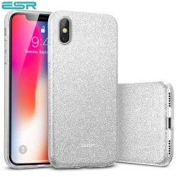 Carcasa ESR Makeup Glitter iPhone X, Silver