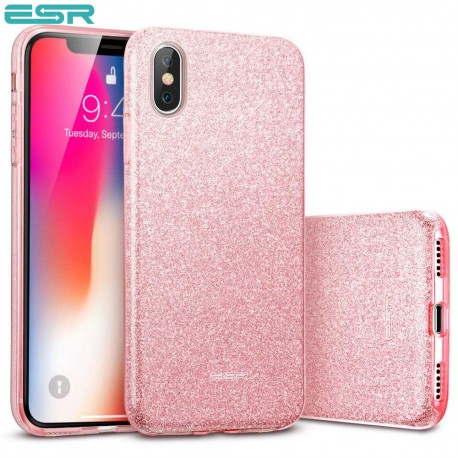 Carcasa ESR Makeup Glitter iPhone X, Rose Gold