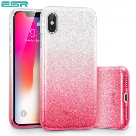 ESR Makeup Glitter case for iPhone X, Ombre Pink