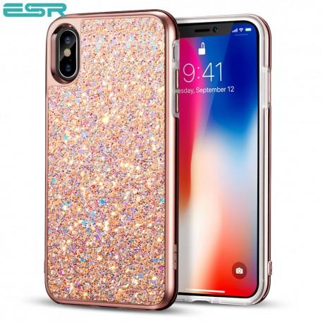 Carcasa ESR Glitter iPhone X, Metallic Peach
