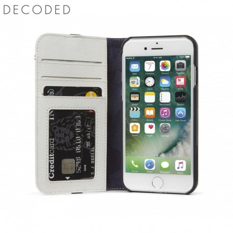 Carcasa piele Decoded Wallet Case iPhone 8, 7, 6s, 6, White/Grey
