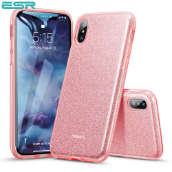 Carcasa ESR Makeup Glitter iPhone XS / X, Rose Gold