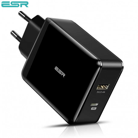 Incarcator de retea ESR Power Delivery (PD) Charger 30W, 1 port USB-C + 1 port USB-A, Black