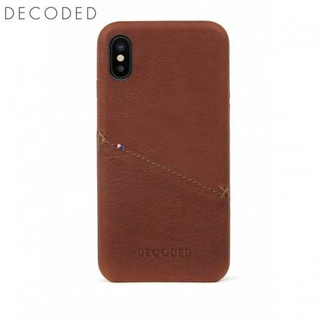Husa piele capac spate pentru iPhone XS / X Decoded maro