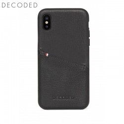 Leather back cover for iPhone XS / X Decoded black