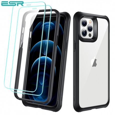 ESR Alliance - Black frame case for iPhone 12/12 Pro + 2 Tempered-Glass Screen Protectors