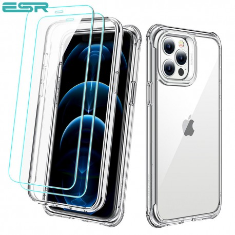 ESR Alliance - Clear frame case for iPhone 12/12 Pro + 2 Tempered-Glass Screen Protectors